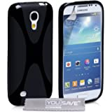 Yousave Accessories X Line Silicone Gel Cover Case for Samsung Galaxy S4 Mini - Black