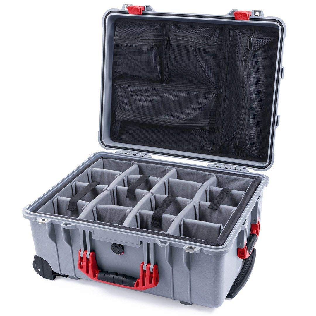 Silver & Red Pelican 1560 case with Grey dividers & mesh Organizer. by Pelican