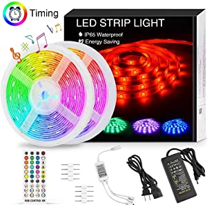 LED Strip Lights Music Sync,32.8FT/10M Waterproof RGB LED Light Strips 5050 300LEDs Flexible Neon Lights Dimmable Color Changing Rope Lights with IR Remote UL 12V Power for Bedroom Room Mood Lighting