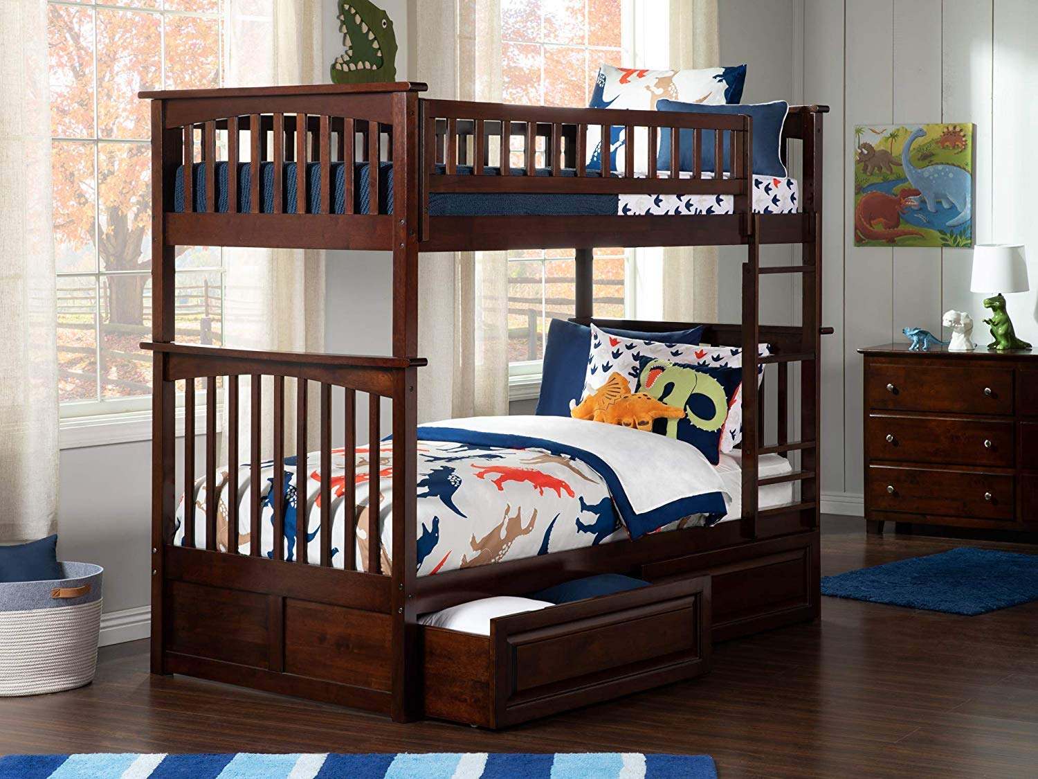 Atlantic Furniture AB55124 Columbia Bunk Bed with 2 Raised Panel Bed Drawers, Twin Twin, Walnut