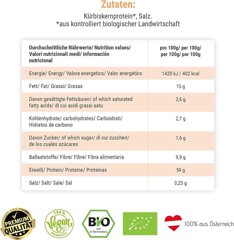 Proteínas de semilla de calabaza orgánica con 59% de proteína vegetal, semillas de calabaza tostadas y molidas, probadas y certificadas, ideal como ...