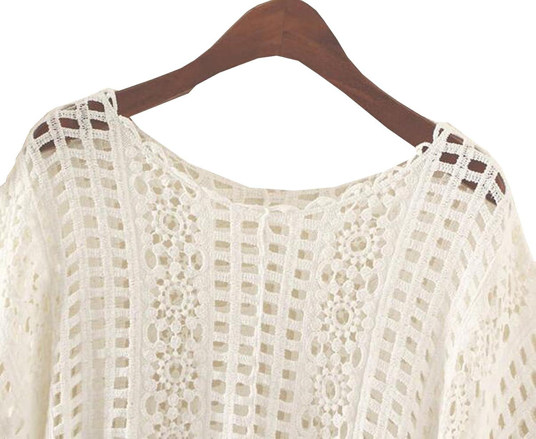 Women's Summer Hedging Smock Bat Sleeve Hollow Sweater Coat Loose Tassel Shawl