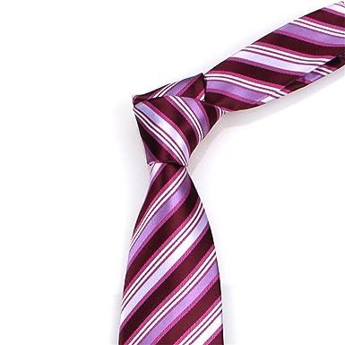 HXCMAN 7cm raya violeta púrpura clásico diseño 100% seda hombres ...