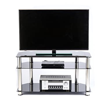 Amazon Com Rfiver Glass Corner Tv Stand For Most 26 27 30 32 37 40
