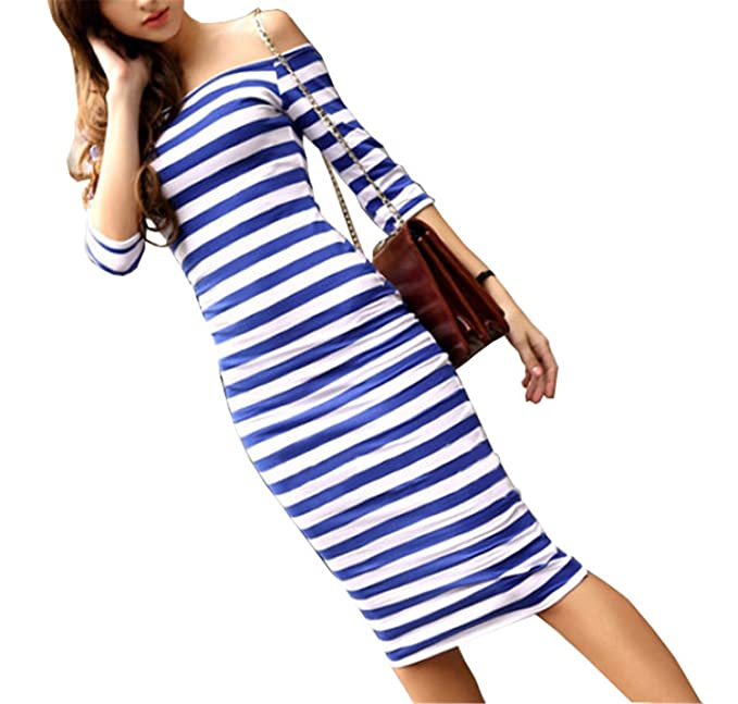 Sexy Women Summer Dress Stripes NEW Midi Party Dresses Vestidos Half Sleeve Off Shoulder Bodycon Pencil