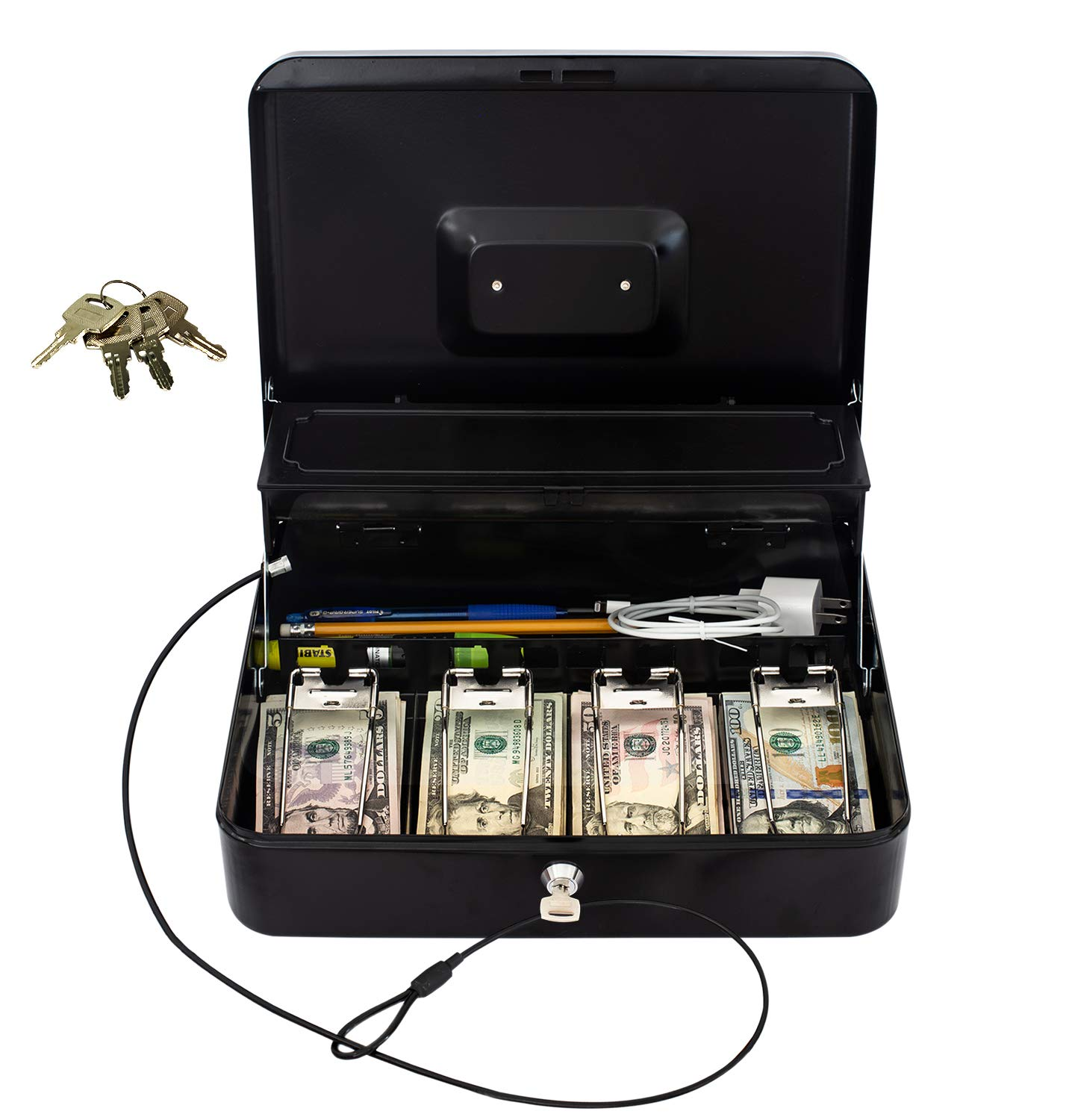 Cash Box by OSAFE - Money Box with Lock & Security Cable - Cash Safe Box with New Lid Coin Tray, 5 Compartments, 4 Spring Loaded - Large 3.5H x 9.5W x 11.8L Inch Metal Money Box with 4 Keys - Black by OSafe