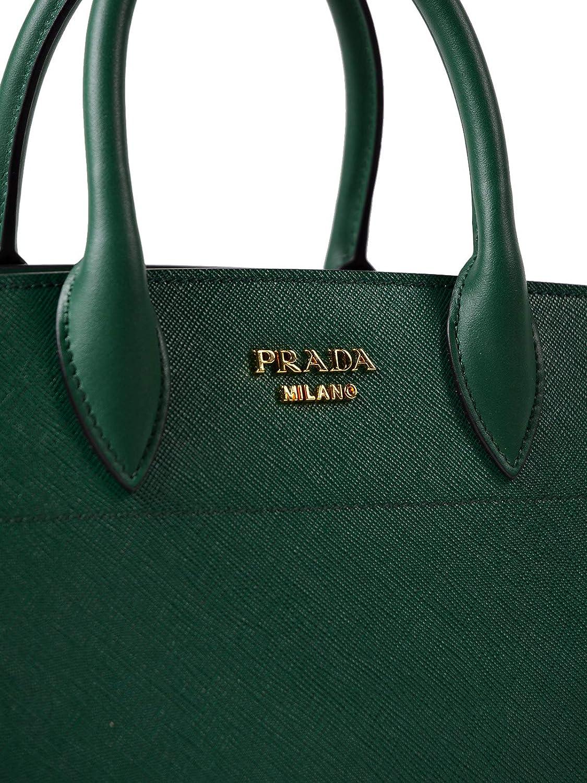 b12ecb733ebc Prada Bibliothèque Tote Saffiano City Leather Green and Black Handbag 1BA049   Handbags  Amazon.com