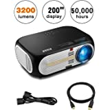 "KUAK 3200 Lumens Projector, 5"" Multimedia Home Theater Full HD 1080P 3D LED Video Projector 200"" Display 50,000 Hour Life with 2HDMI 2USB Jack for Home entertainment Movie- HT60&Black"