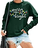 Christmas Sweatshirt Women Merry and Bright Christmas T-Shirt Funny Xmas Lights Blouse Tops Holiday Shirts