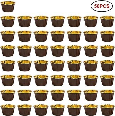 50 Piezas de Papel de Aluminio Cupcake Liner Estuches para Muffins Molde de Aluminio Espeso para Hornear Estuches para Vasos de Papel Estuches para Hornear de Papel: Amazon.es: Hogar