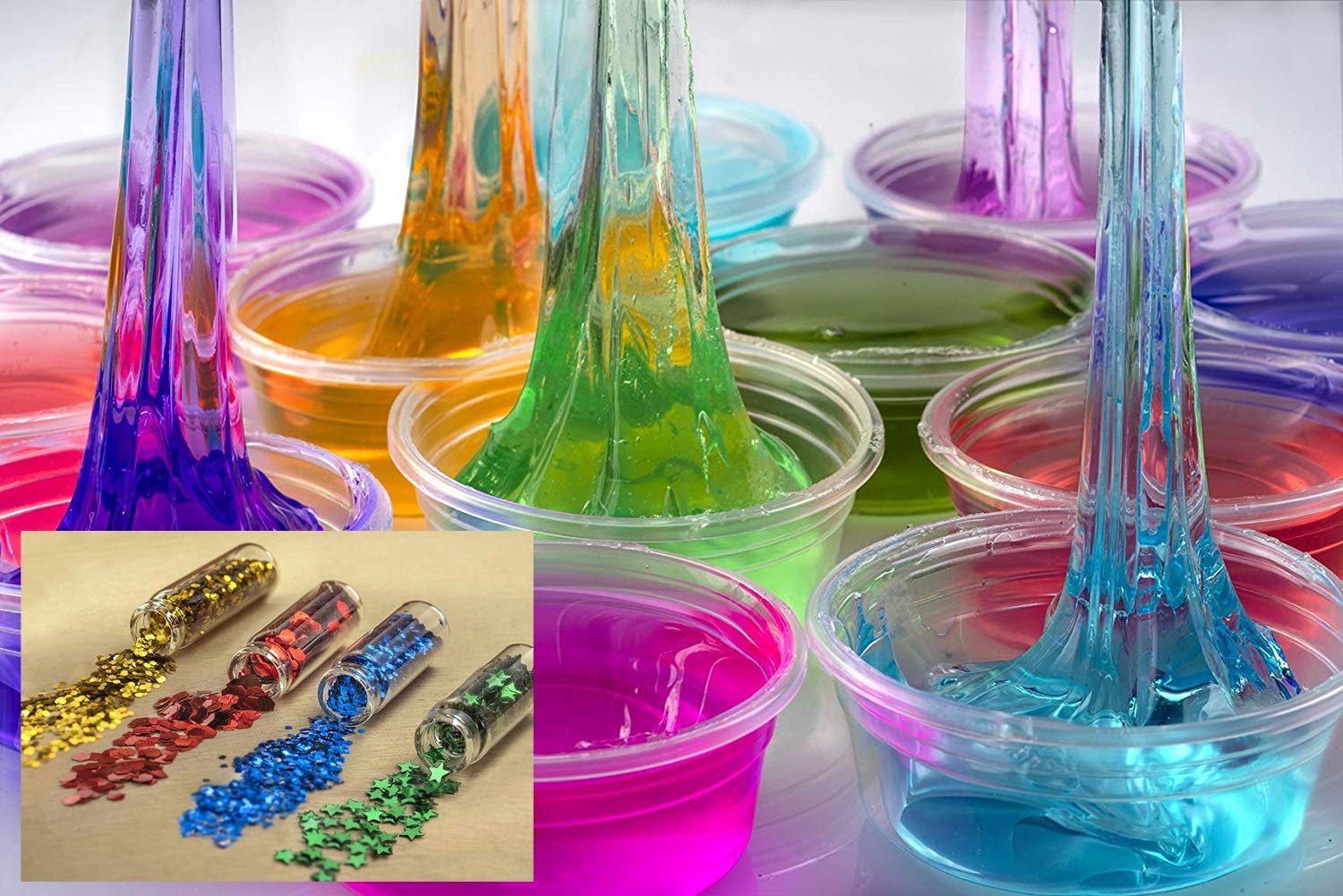 EZ Slime Kit- Boys Girls Everyone. Crystal Slime, Fluffy Clay Slime, Fake Snow, Glow Powder, Thermal Powder, Foam Beads, Glitter, Plus More. 60 Piece Kit. Over 3 Pounds by EZ Slime Kit (Image #5)