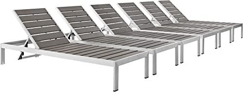 Modway Shore Aluminum Outdoor Patio Poolside Six Chaise Lounge Chairs in Silver Gray