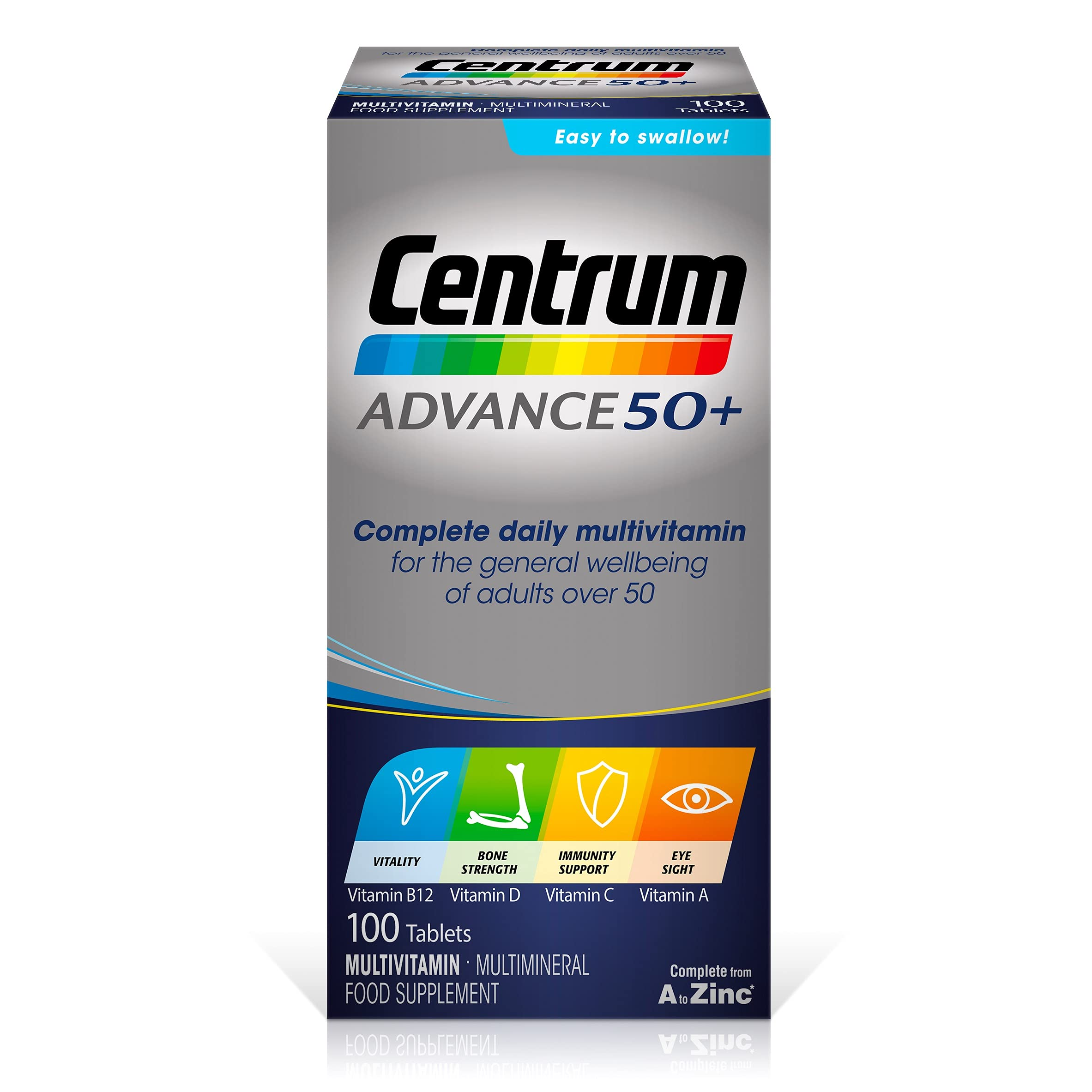 Centrum Advance 50+ Multivitamin & Mineral Tablets, 24 Essential Nutrients Including Vitamin D, Complete Multivitamin Tablets, 100 Tablets
