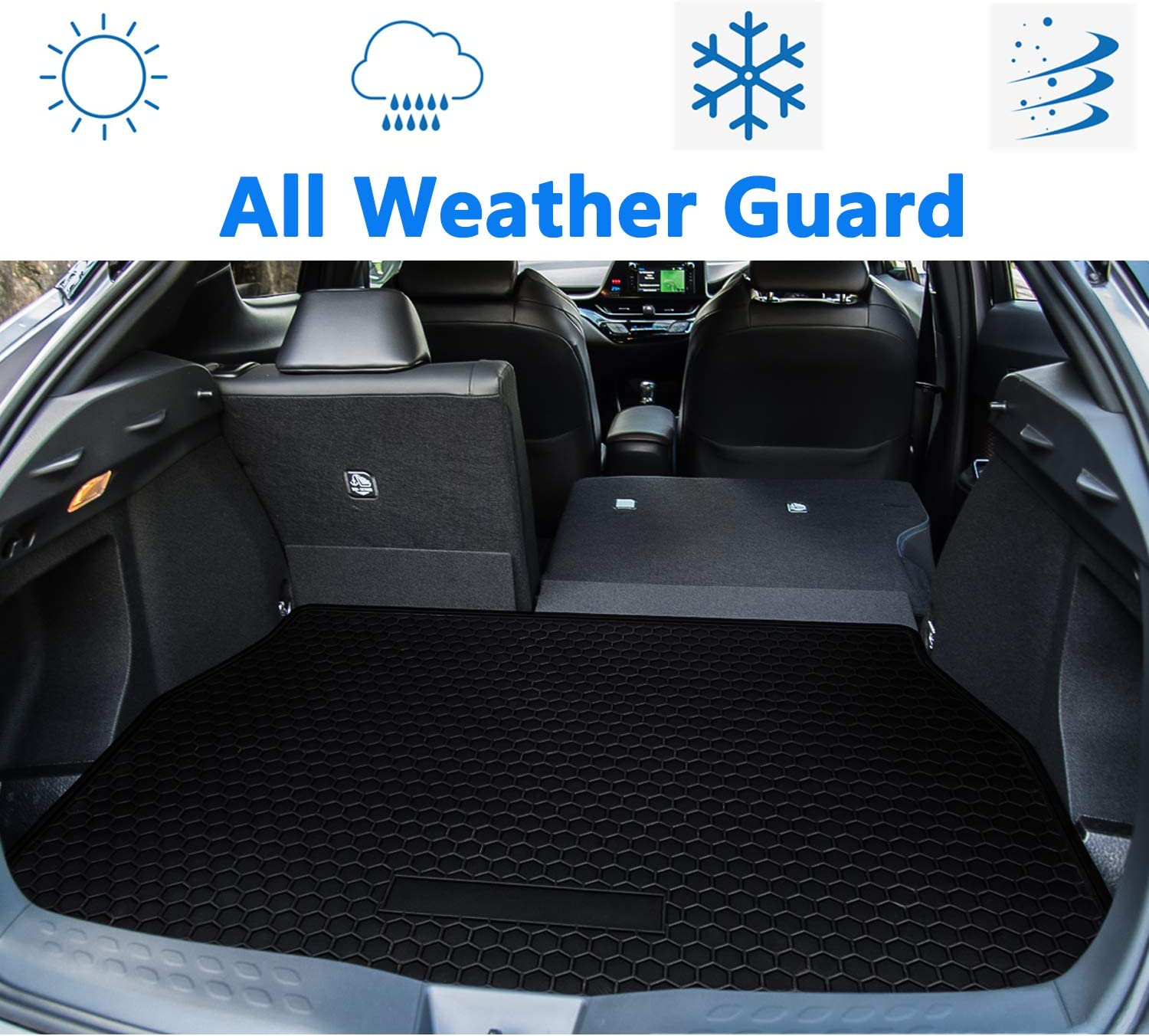 bonbo Trunk Cargo Liner Floor Mat for Toyota C-HR 2018 2019 Custom Fit Cargo Mat with Odorless and Heavy Duty Rubber All Weather Guard