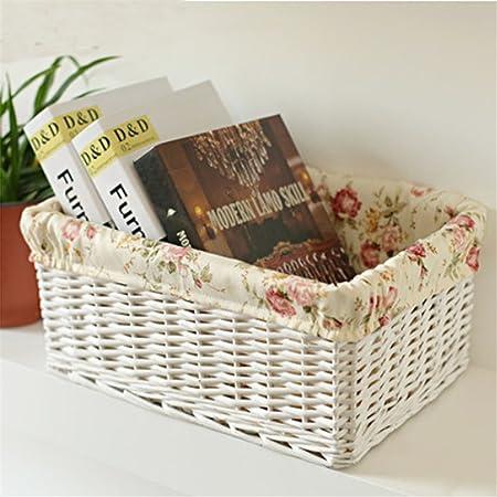 CHUWULANES Casa Y JardíN Rattan Cesta Tejida Caja De Almacenamiento Decorativos PequeñOs Cestos De Mimbre Cesta De Mimbre Grande LavanderíA Cesta De Mimbre Libros De Juguete TamañO PequeñO: Amazon.es: Hogar