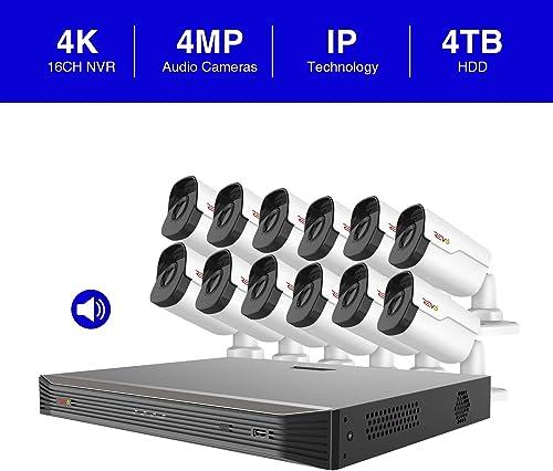 Revo America Ultra 16 Ch. 4TB HDD IP NVR Video Surveillance System, 12 x 4MP Indoor Outdoor IP Bullet Cameras – Remote Access via Smart Phone, Tablet, PC MAC