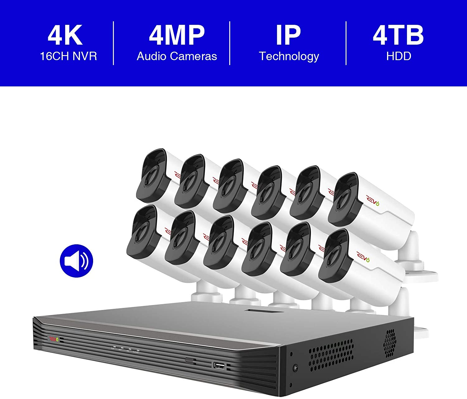 Revo America Ultra 16 Ch. 4TB HDD IP NVR Video Surveillance System, 12 x 4MP Indoor Outdoor IP Bullet Cameras – Remote Access via Smart Phone, Tablet, PC MAC