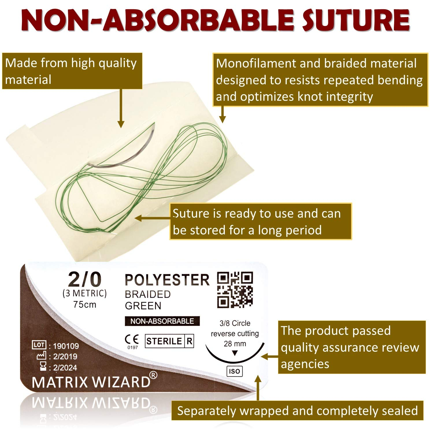 Mixed Sutures Thread with Needle (Absorbable: Chromic Catgut; Non-Absorbable: Nylon, Silk, Polyester, Polypropylene) - Surgical Wound Practice Kit, Emergency First Aid Demo (2-0, 3-0, 4-0, 5-0) 24Pk by Matrix Wizard (Image #5)