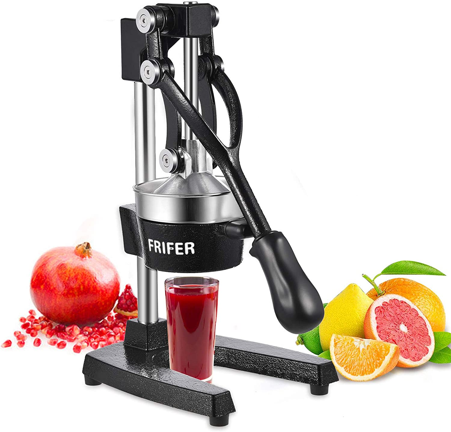 Frifer Manual Citrus Juicer Hand Press,Commercial Orange Lemon Juicer Squeezer Heavy Duty Cast Iron Fuselage and Base,Stainless Steel Funnel&filter screen,Durable and Easy to Clean(Black)