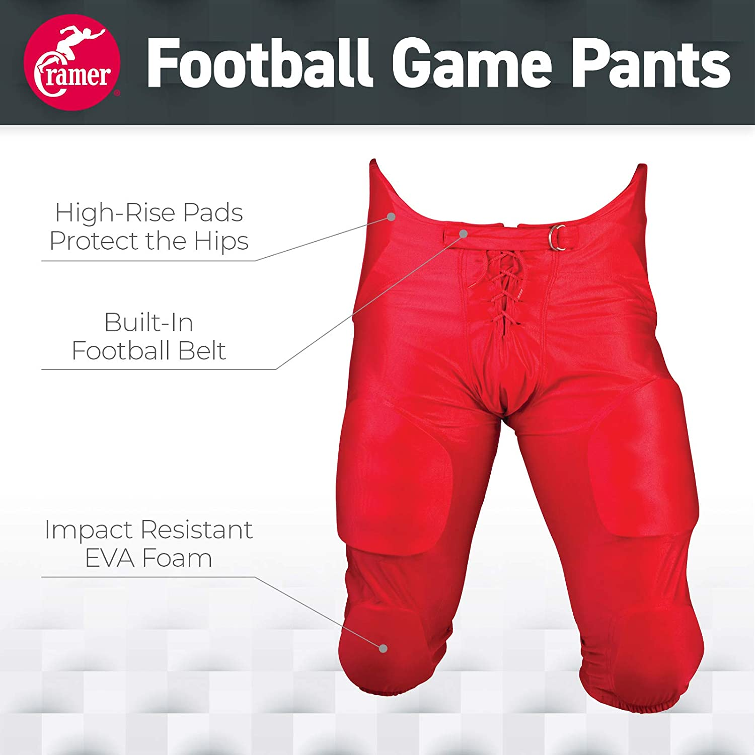 Red Cramer Football Game Pants High-Rise Hip Padding for Iliac Crest Protection 7 Pads with Hip Thigh Designed for High-Impact Youth Medium Youth Football Gear and Knee Pads Tailbone