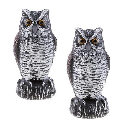 Baoblaze 2pcs Garden Owl Repels Birds Repeller Defense Figure Decor Statue  Plastic