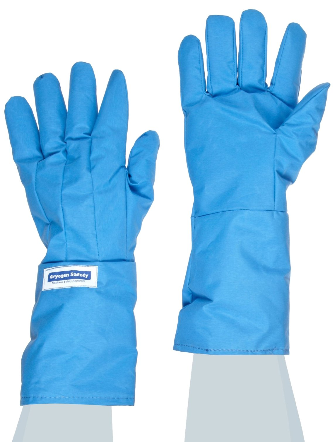 National Safety Apparel G99CRBERMDMA Nylon Taslan and PTFE Mid-Arm Standard Water Resistant Safety Glove, Cryogenic, 14'' - 15'' Length, Medium, Blue