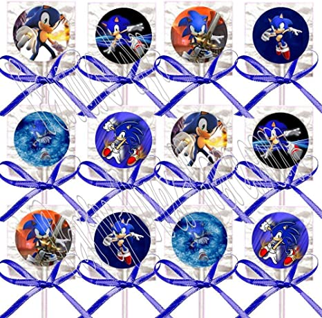 Amazon Com Sonic The Hedgehog Party Favors Supplies Decorations Video Game Lollipops Suckers With Dark Blue Ribbon Bows Favors 12 Pcs Health Personal Care