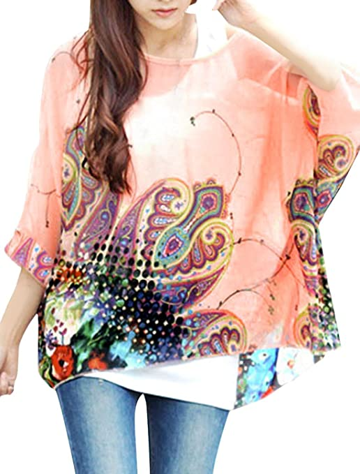 iNewbetter Womens Floral Batwing Sleeve Chiffon Beach Loose Blouse Tunic Tops 35
