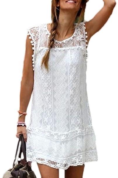 Women Lace Patchwork Hollow Out Scoop Neck Mini Shift Dress Tops