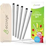 5 x Stainless Steel Reusable Metal Drinking Smoothie Straws by Ecovyx™ | 2 X Cleaning Brushes & Linen Carry Bag Included | ECO Friendly BPA Free | Extra Wide for Smoothies Milk Protein Shakes