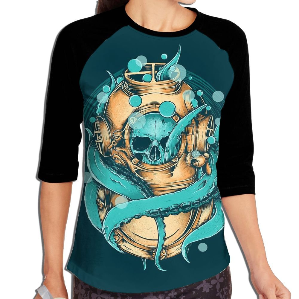 XIANGKESI Stylish Women's Cool Diver Octopus Squid Skull In Ocean Mid Sleeve Raglan T-Shirt