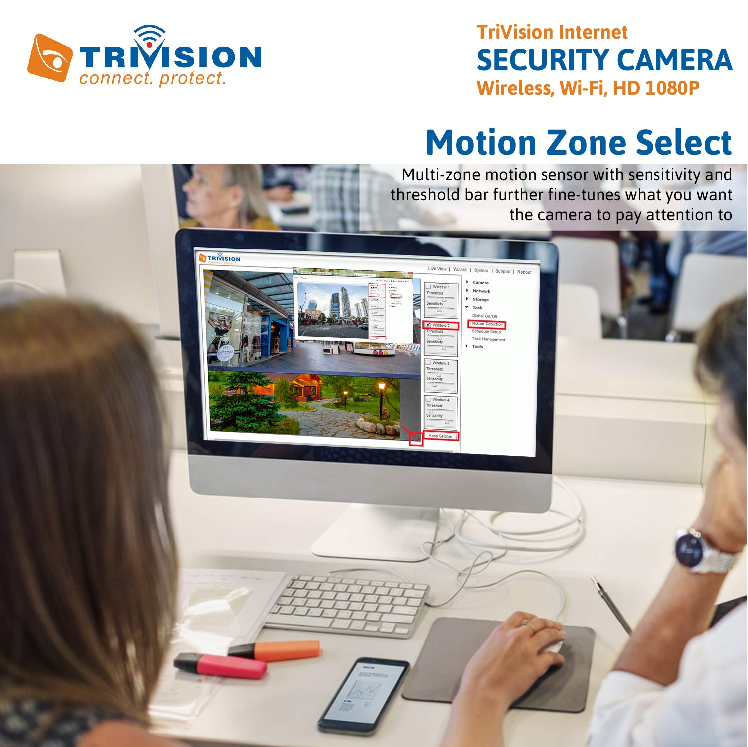 TriVision 1080P HD Outdoor Security Camera POE, WiFi, Superior Low Light Performance, Long Range Motion Sensor, Wide Angle Alarm Recording with SD Card, FTP, Google Drive, Dropbox