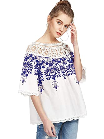 b1304d92f4 Romwe Women's Cold Shoulder Floral Embroidered Lace Scalloped Hem Blouse  Top White Blue XS