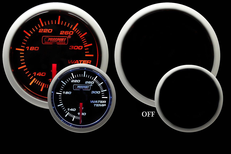 Water Temperature Gauge- Electrical Amber/white Performance Series 52mm (2 1/16') Prosport Gauges Inc. 216BFWAWT270PSI