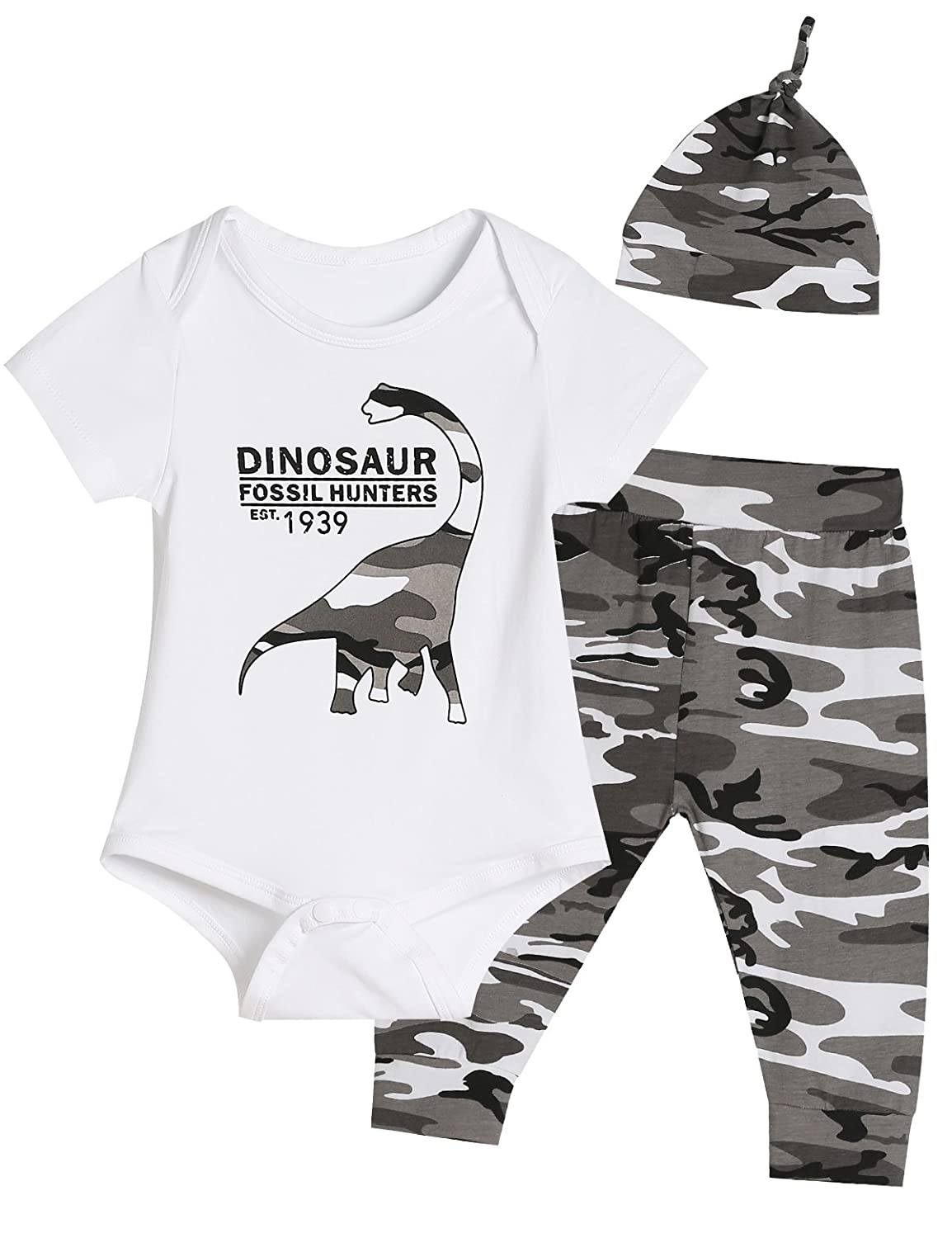 Baby Boys' Dinosaur Outfit Set 3PCS Funny Bodysuits Camouflage Pants Hat