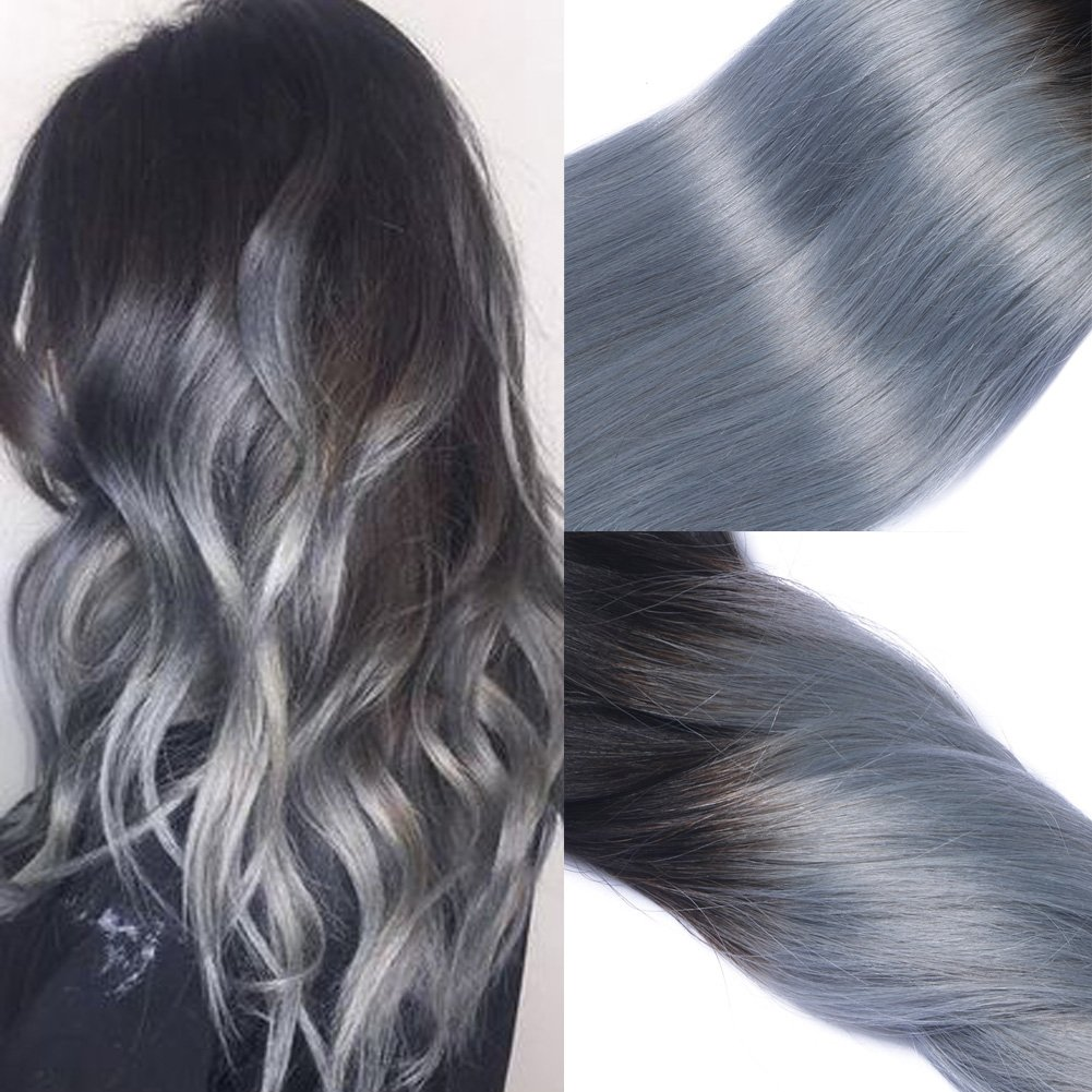 120g/set 2 Tones Color 1B/Grey Dip Dye Clip in Extensions Remy Virgin Human Hair Silver Ombre Grey Straight Long Hair (18 inch, Black and Silver) Shangxiu