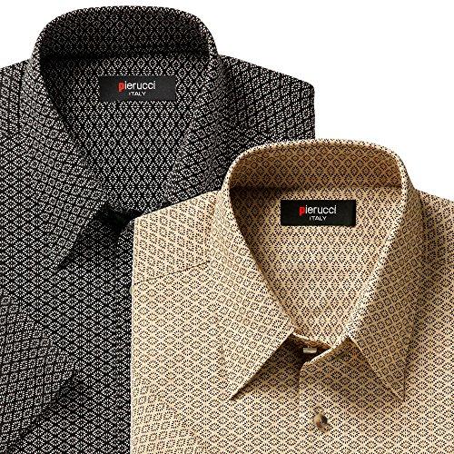菊菱(きくびし)小紋柄 綿100% 半袖メンズシャツ2色組(メンズ 紳士 おしゃれゴルフシャツ)Pierucci WA-1003