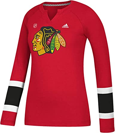 Medium Red NHL Chicago Blackhawks Long Sleeve Fleece Crew Neck Top