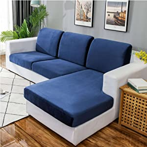 MOSU Velvet Stretch Couch Cushion Cover Sofa Slipcover for L-Shaped Sofa Chaise Longue, 1 2 3 Cushion Couch Sofa Cover Soft Furniture Protector-Navy-Loveseat (2 PCS)