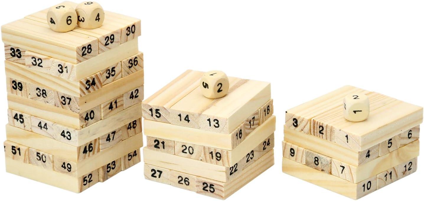 TRIXES 54 Piezas Bloques Madera Apilar Juego con Números y Dados: Amazon.es: Juguetes y juegos