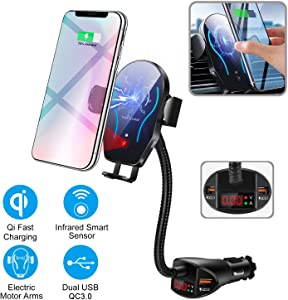 WALOTAR Car Cigarette Lighter Wireless Charger- Phone Holder Mount,Automatic Infrared Smart Sensing 10W Qi Fast Wireless Charging Cradle for Cell Phone,Dual USB, Double QC3.0 Output