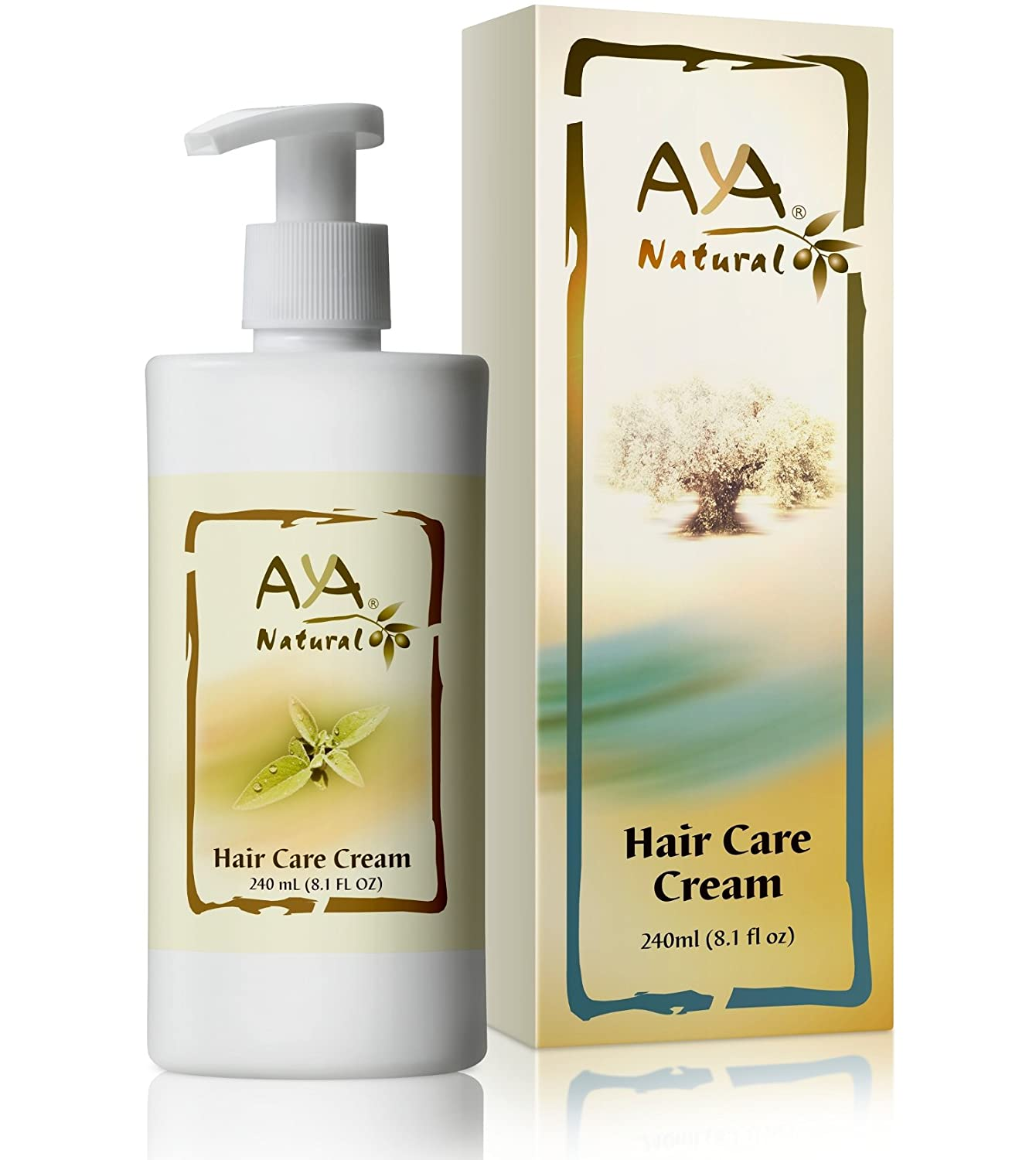 Aya Natural Leave In Hair Conditioner - Vegan Anti Frizz Hair Care Nourishing Cream with Olive & Jojoba Oil, Coconut & Rosemary Oils Blend