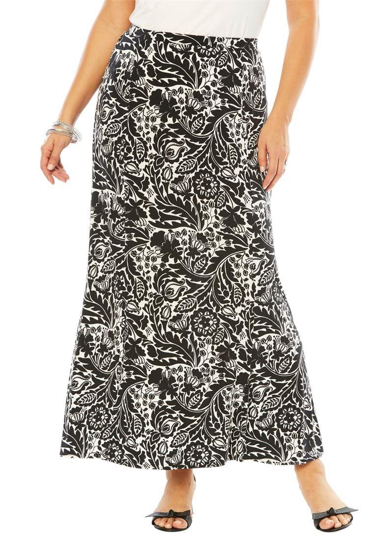 Jessica London Women's Plus Size Travel Knit Maxi Skirt Black White Mini