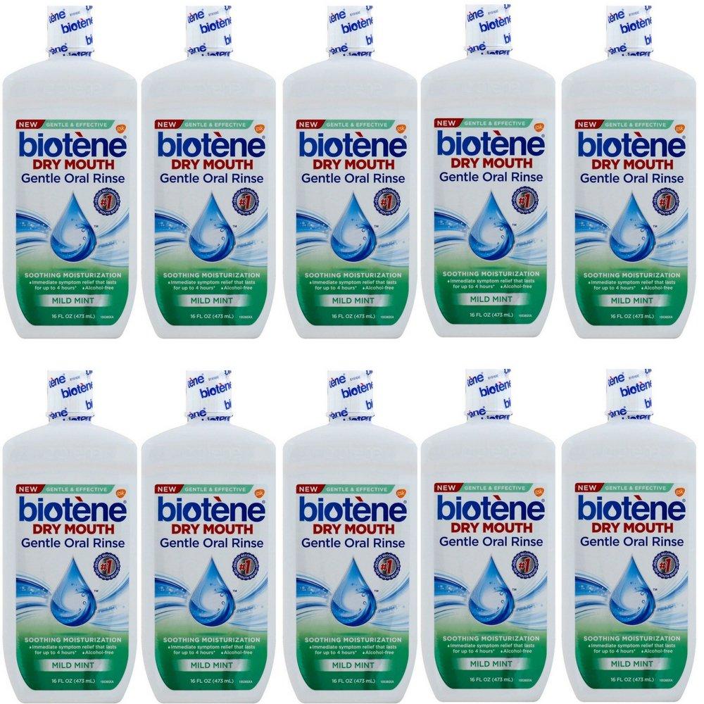 Biotene Moisturizing Oral Rinse, Mild Mint 16 Ounce (10 pack)