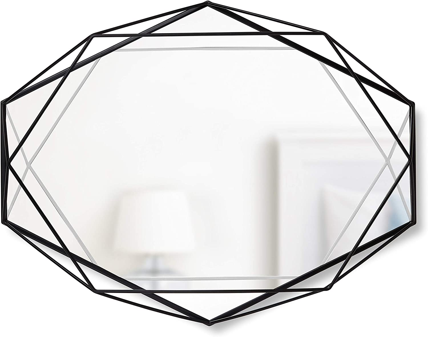 Umbra, Black Prisma Modern Geometric Shaped Oval Mirror Wall Decor for Bedroom, Bathroom, living, Dining Room