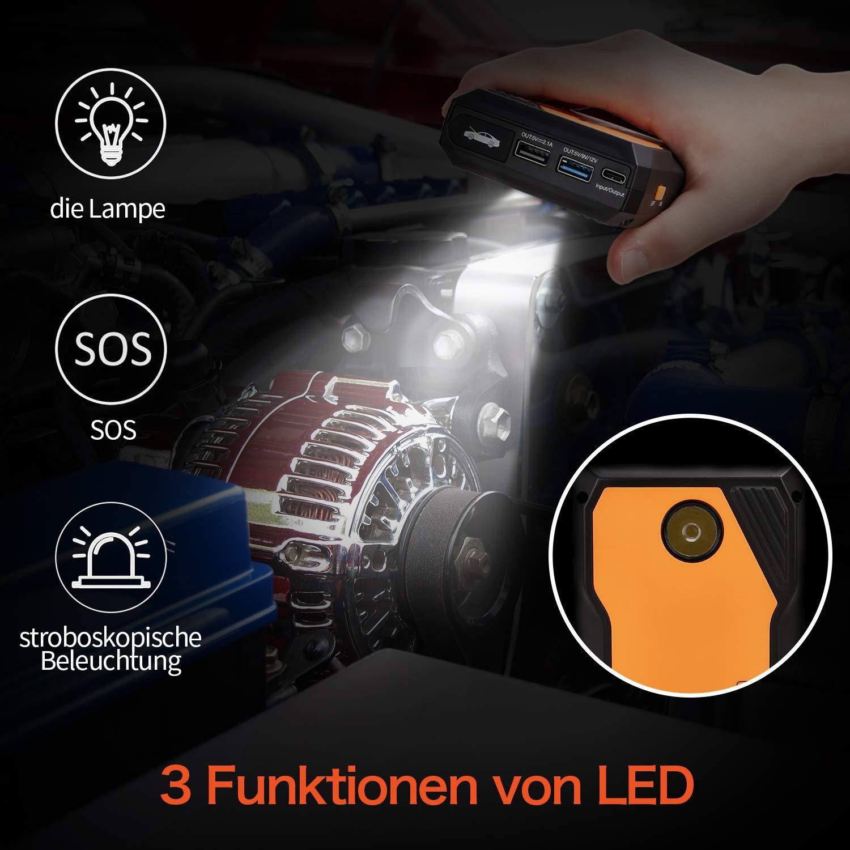 AUTOWN Starthilfe Powerbank orange Auto Starthilfe 10000mAh 800A Spitzenstrom KFZ Starter Powerbank mit 12V Ausgang