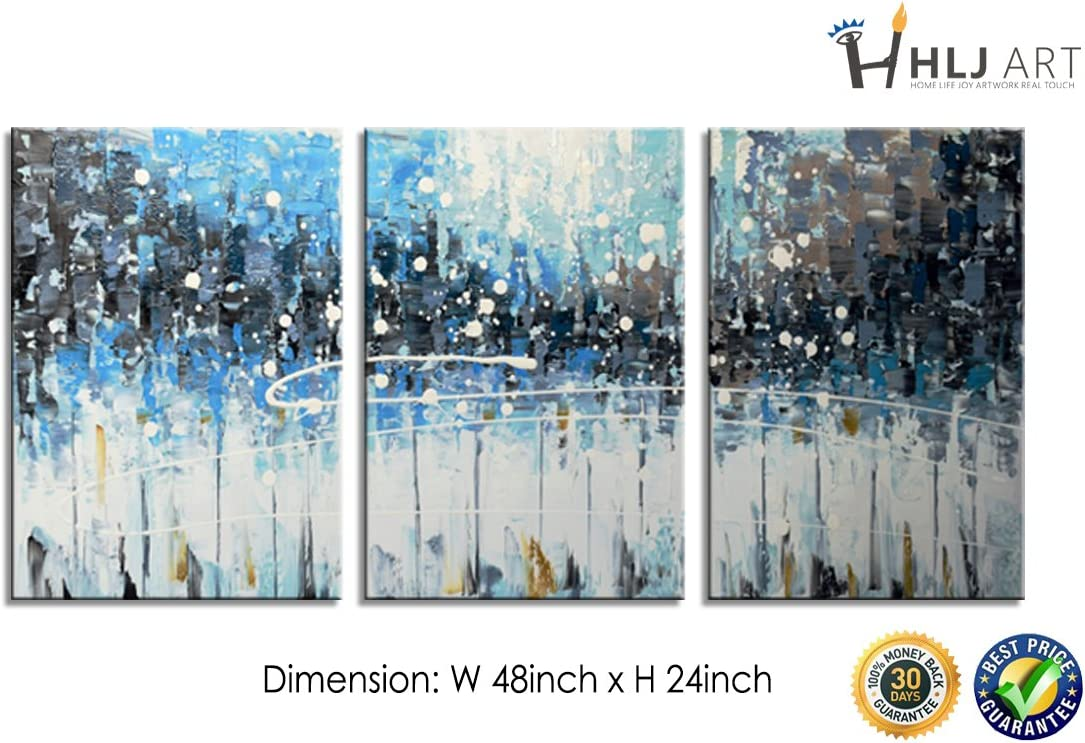 Abstract Oil Painting Handmade Canvas Wall Art Blue Landscape Contemporary Modern Paintings for Home Office Decor 16x24inchx3pcs, A-Blue
