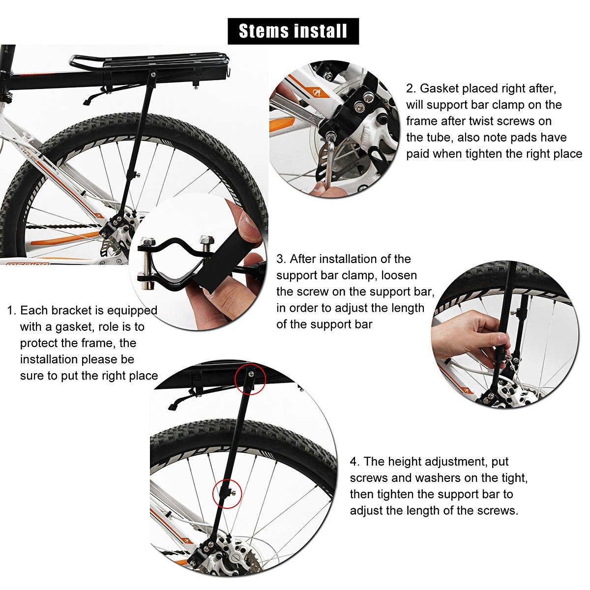 Bicycle Bike Seatpost Quick Release Alloy Rear Rack Carrier Pannier Side Protect