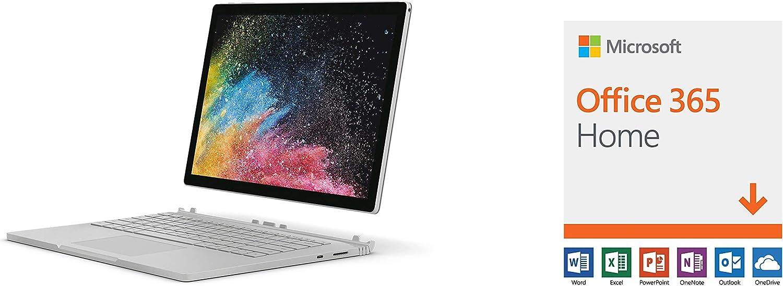 "Microsoft Surface Book 2 (Intel Core i7, 8GB RAM, 256GB) - 13.5"" and Microsoft Office 365 Home"