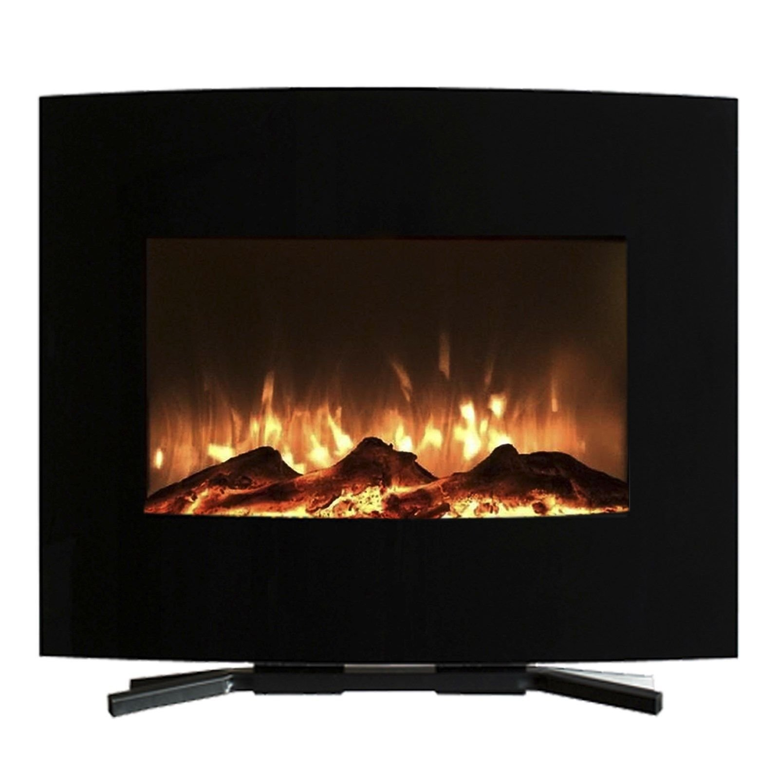 Mini Curved Black Fireplace Wall Mount & Floor Stand 25 x 20 Inches Remote by Love+Grace (Image #3)